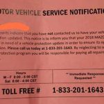 Motor Vehicle Service Notification - Is It a Scam?