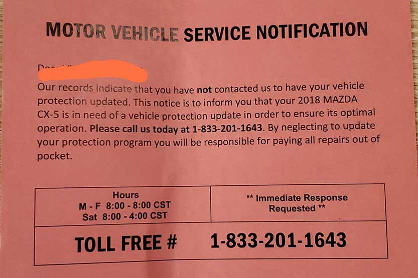 motor vehicle service identification postcard
